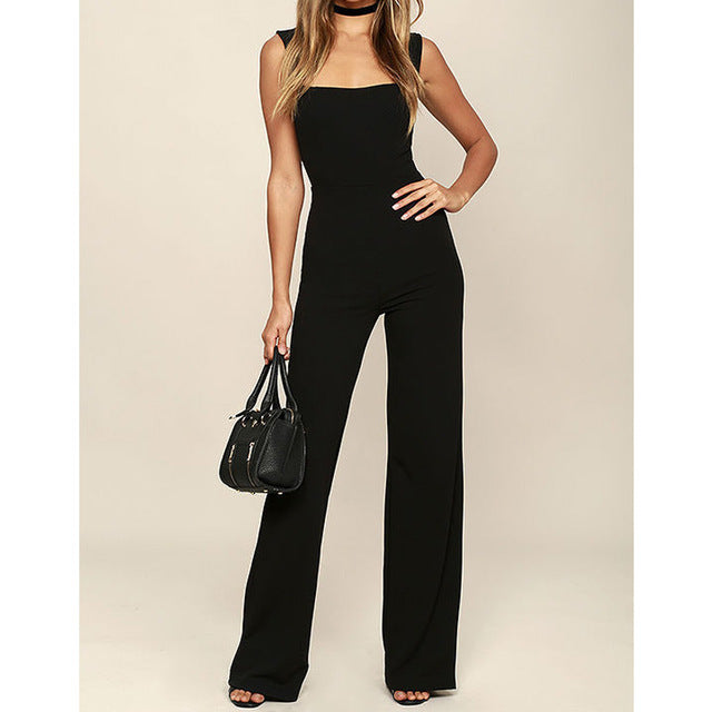 Lossky Summer Long Jumpsuits High Waist Women Square Collar Sleeveless Trousers Pants Romper Jumpsuit Offical Lady Slim Jumpsuit