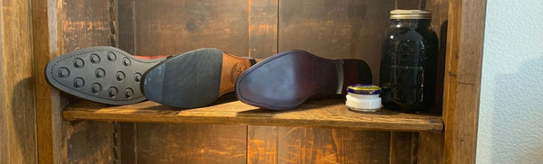 What type of sole is best for men's shoes? Read about the pro's and con's of leather, half rubber and Dainite soles.