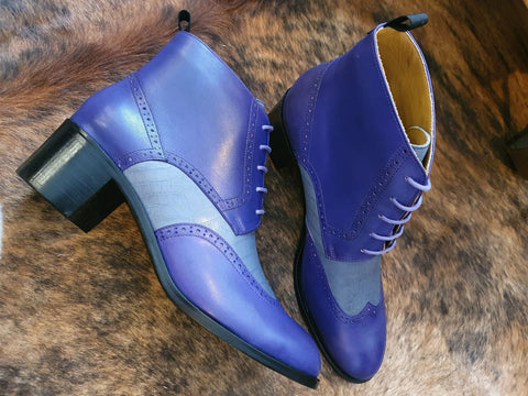 Our Lady Bovine lace up boot with 4cm heel in purple tone.