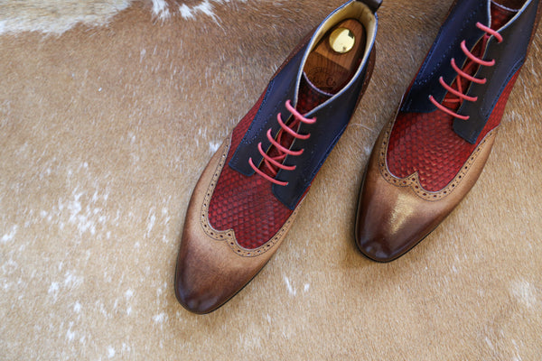 Mr. Bovine: Ginger + Crimson + Denim + Eel Emboss