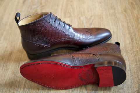 Mr. Bovine: Oxblood + Crocodile Emboss
