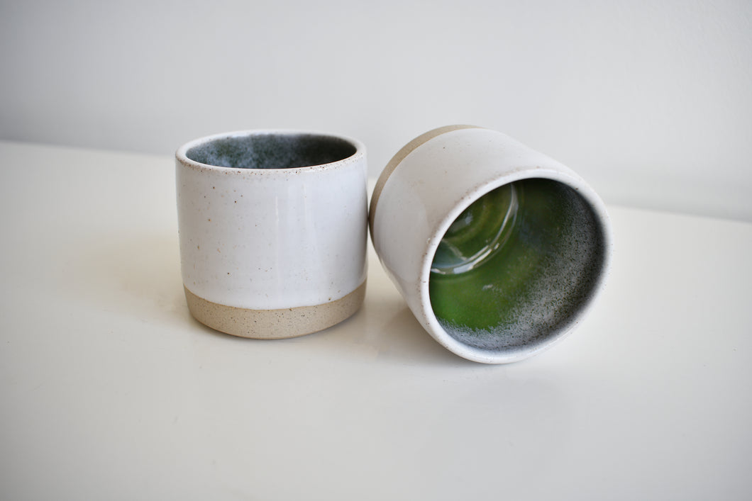 Espresso Tumblers White & Green Straight Sided