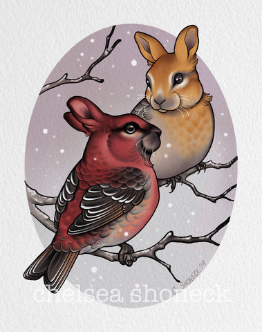 February - Pine Grosbeaks