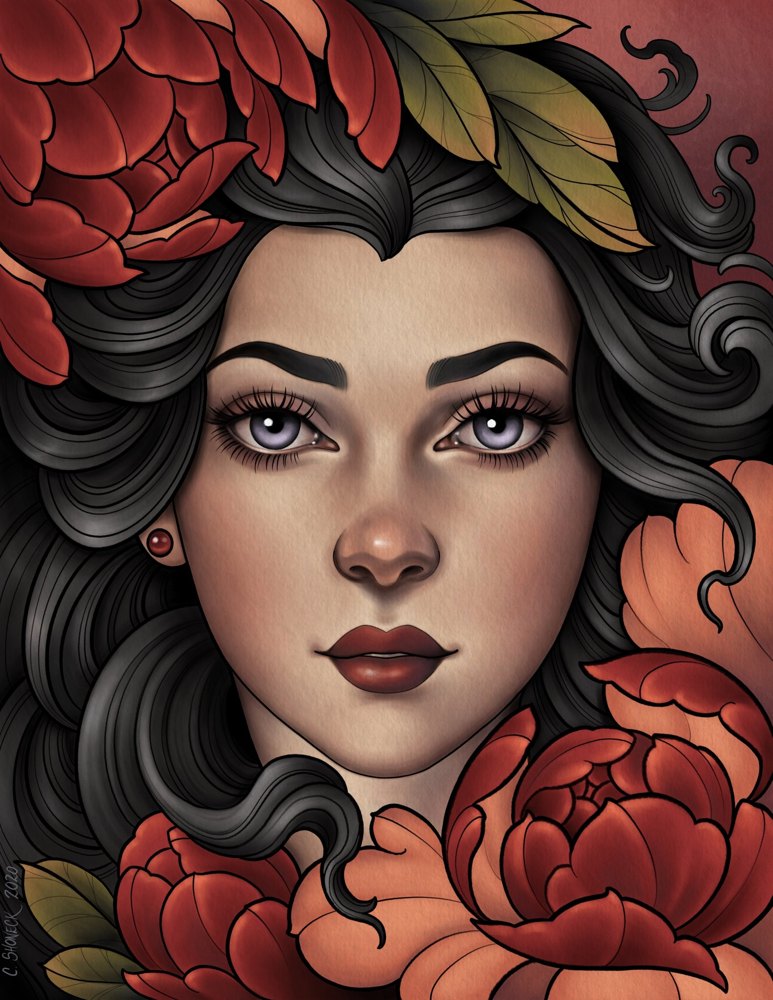Peony lady - brunette/red
