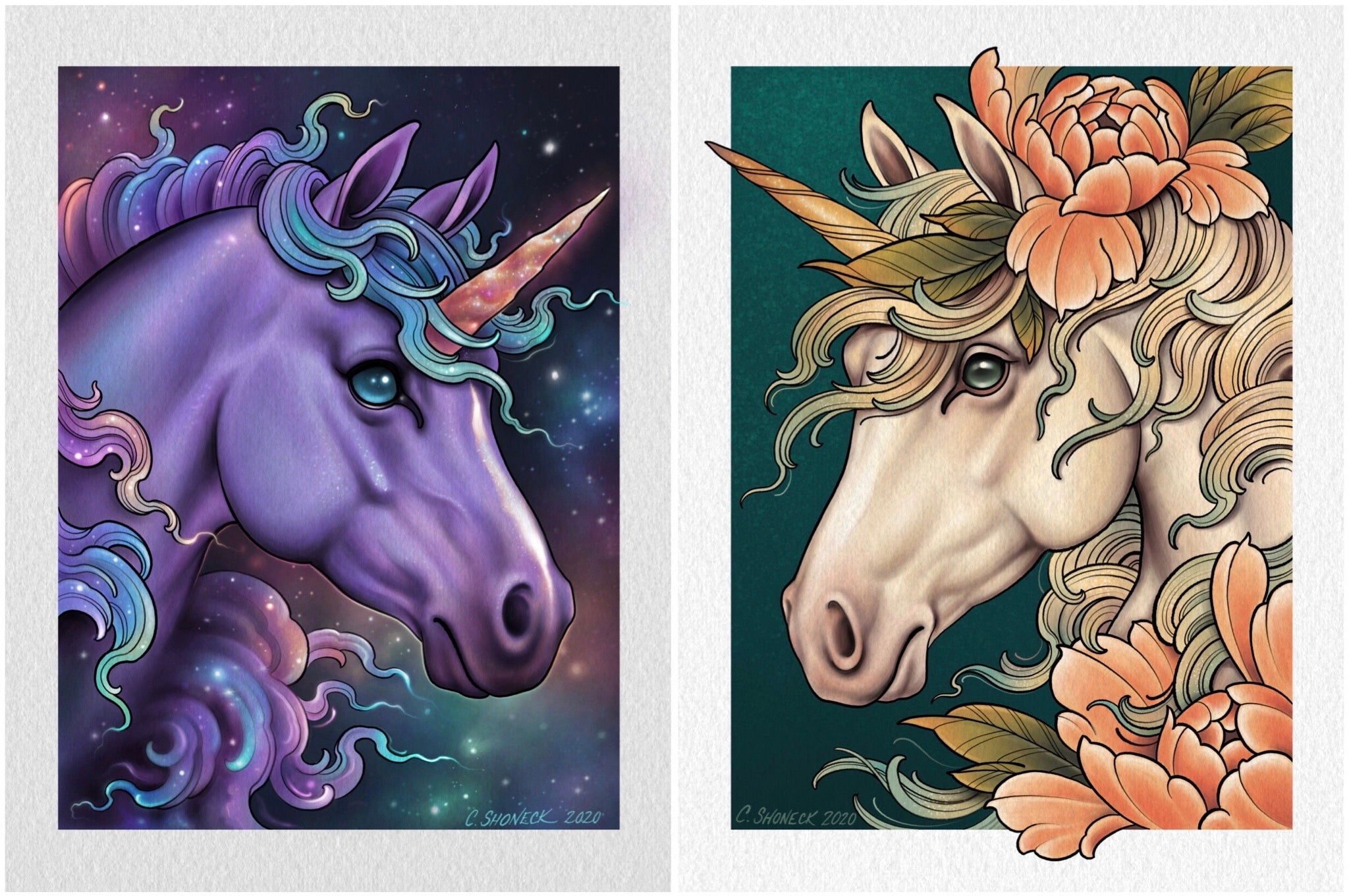 Unicorn pair - space and pale