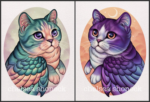 Meowl Pair - purple and teal
