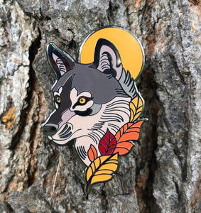 Autumn Wolf enamel pin
