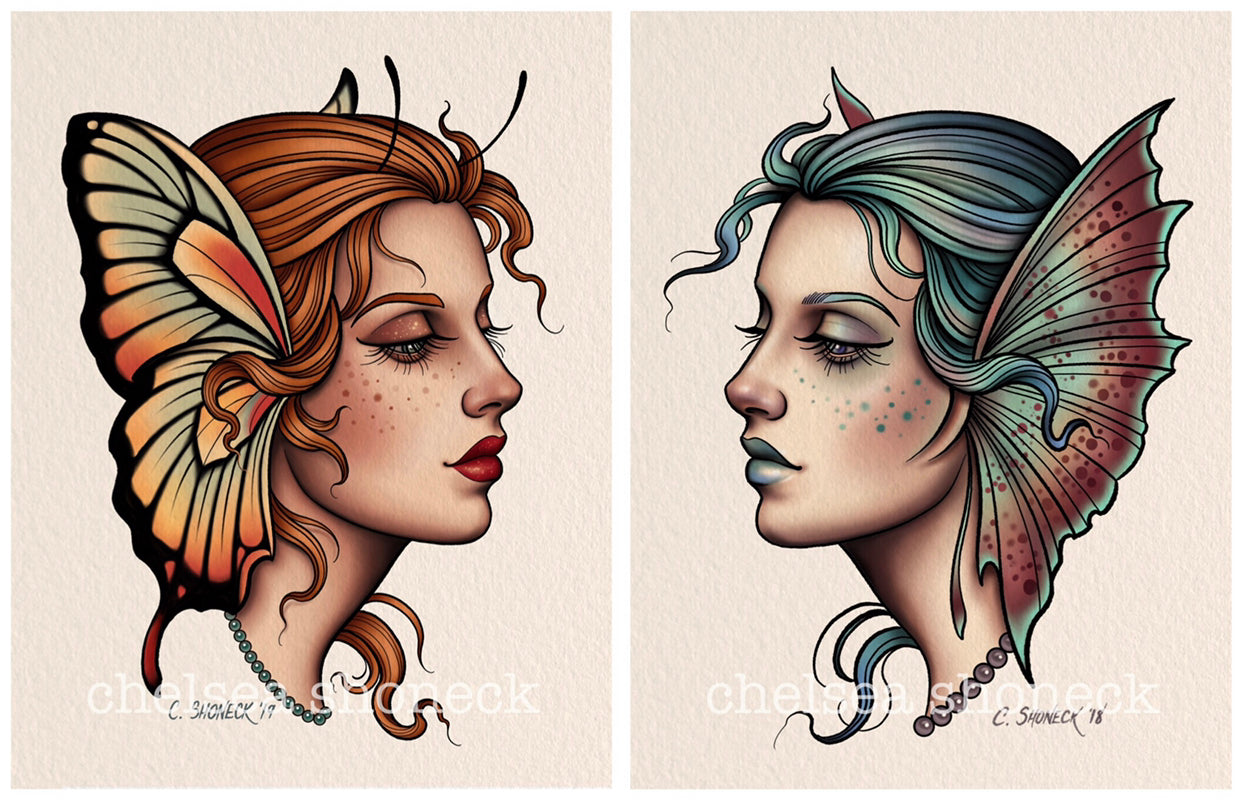 Butterfly/Mermaid pair