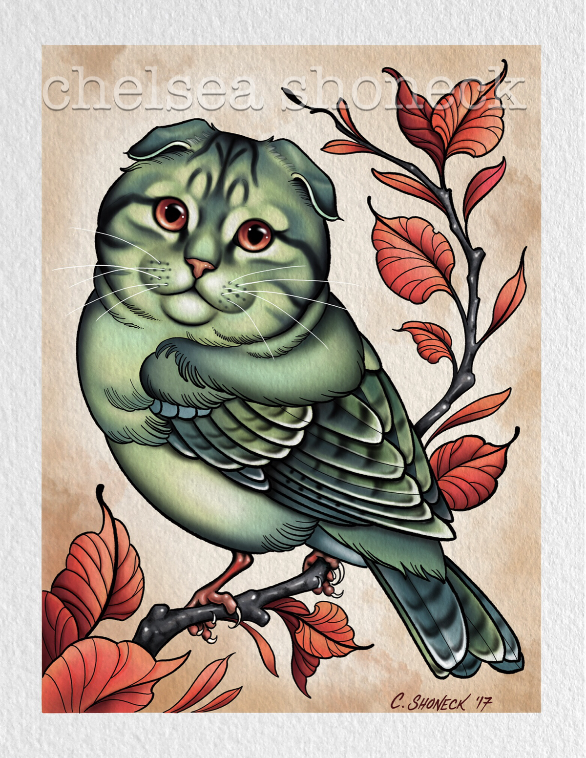 Green Scottish Fold Catbird