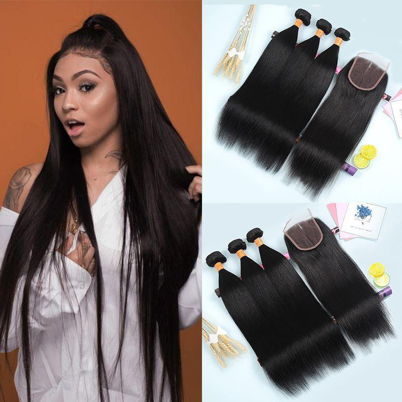 Unprocessed Straight Bundles With Closure Hair Weave 3 Bundles With 4*4 Lace Lace Closure Virgin Hair Extension