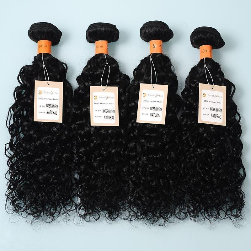 10A Water Wave With 13*4 Lace Closure Unprocessed Human Hair Extensions Natural Black Color