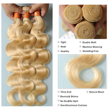 Load image into Gallery viewer, 10 A color s Blonde Hair Extensions Body Wave 100% Real Human Hair