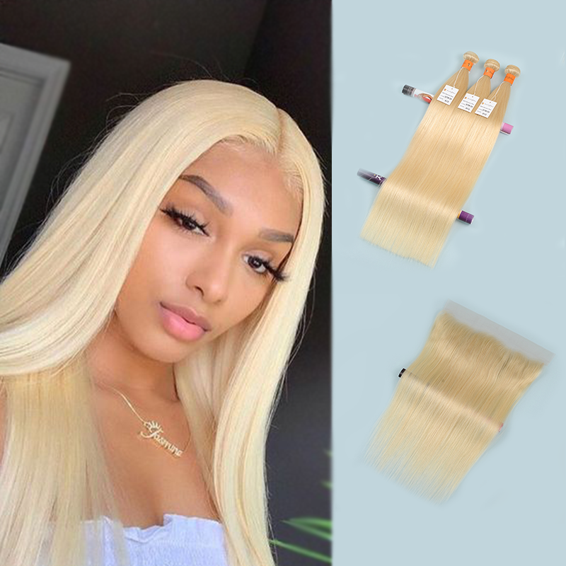 10 A  Straight Blonde Hair Bundles with Frontal 13×4 Pre Plucked Hairline with Baby Hai