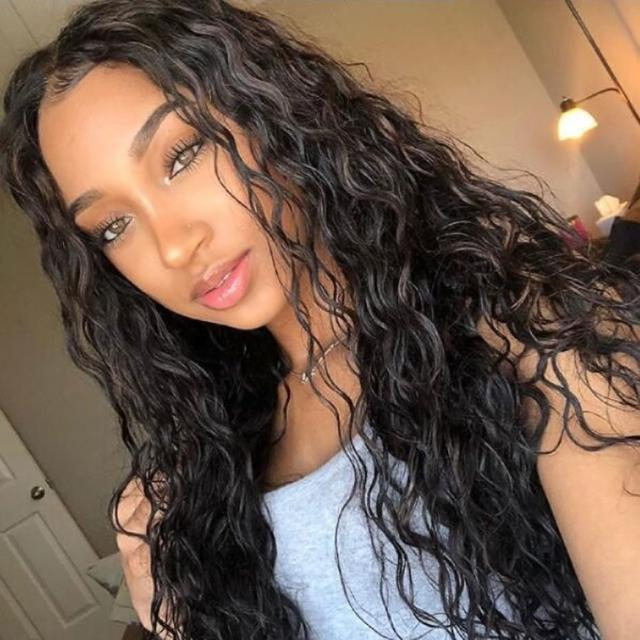 Brazilian hair natural wave lace front wig full set of people pre-harvest bleached knot curly hair wig female
