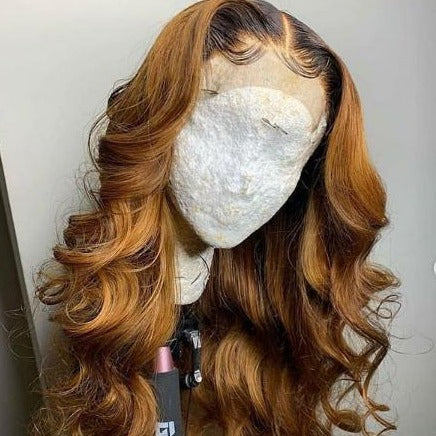Loose Wave Ombre Color Lace Wigs Remy Human Hair Wigs Pre Plucked