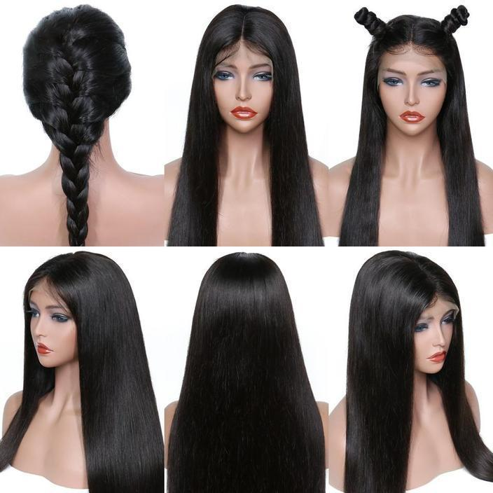 Multi-style Brazilian Wig  Straight Lace Closure Wig Lace Front Human Hair Wigs Pre-Plucked With Baby Hair Jazz Star Non Remy Lace Wig