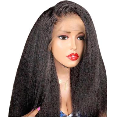 Kinky Straight 360 Lace Front For Women Black Brazilian Lace Wigs Human Hair Wigs