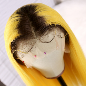 Elegants Colored Yellow Human Hair Wigs With Preplucked Baby Hair 100% 120% 140% density Ombre Blonde Lace Front Wig Brazilian Remy Hair