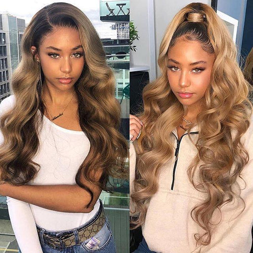 360 Lace Wigs Pre Plucke body wave With Babyhair Brown Mixed Gold - LCK-hair
