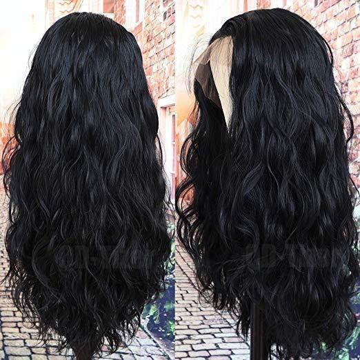Black Long Loose Curly Wave Glueless Lace Front Wigs Hairline Human Lace Front Wigs