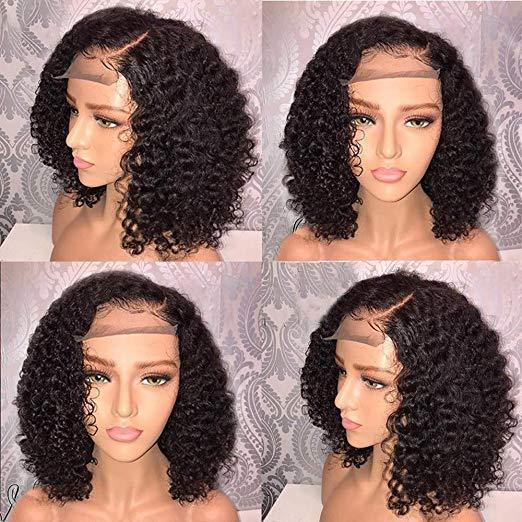 Vacation hair : summer Bob premier lace Charming black front lace short curly wig - LCK-hair