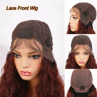 Curly Hair Lace Front Wigs Red Brown Color Two Tone Synthetic Long Wigs Hair for Black Women