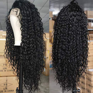 Black long curly Hair Wigs 360 Lace Front 100% virgin hair