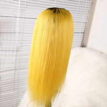 Load image into Gallery viewer, Elegants Colored Yellow Human Hair Wigs With Preplucked Baby Hair 100% 120% 140% density Ombre Blonde Lace Front Wig Brazilian Remy Hair