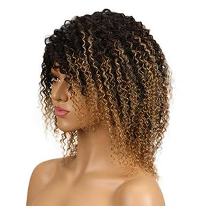 Remy Hair Kinky Curly Hair Omber Blonde Wig Machine Made Short Human Hair Wigs For Women