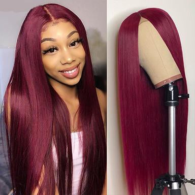 Straight Lace Front Human Hair Wigs For Black Women 99J Brazilian Virgin Hair Wigs Pre Plucked