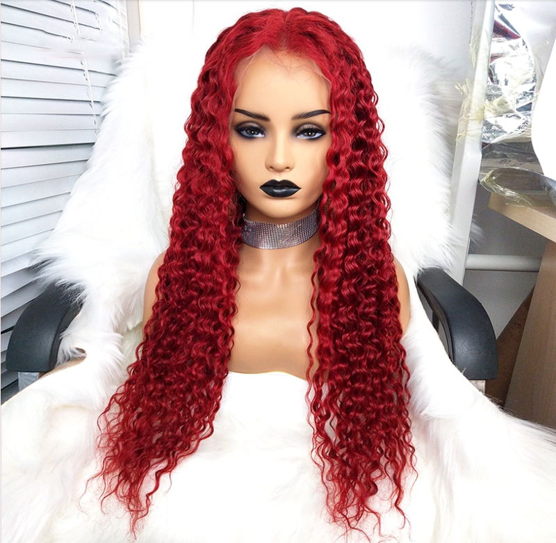 Preferred Red Curly Human Hair Wig With Baby Hair Brazilian Remy Hair Ombre Honey Blonde Lace Front Wigs For Black Wome