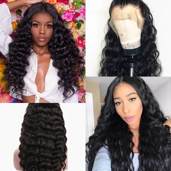 Glueless Full Lace Wigs For Women Deep Loose Wave Brazilian Virgin Human Hair Wig Pre Plucked With Baby Hair Black