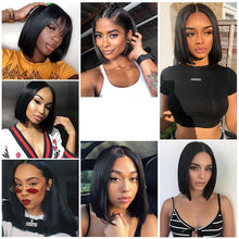 Load image into Gallery viewer, Short Bob Wigs Peruvian 100% Remy Hair Can Be Dyed Lace Front Human Hair Wigs Pre-Plucked Bleached Knots For Woman Slove Rosa
