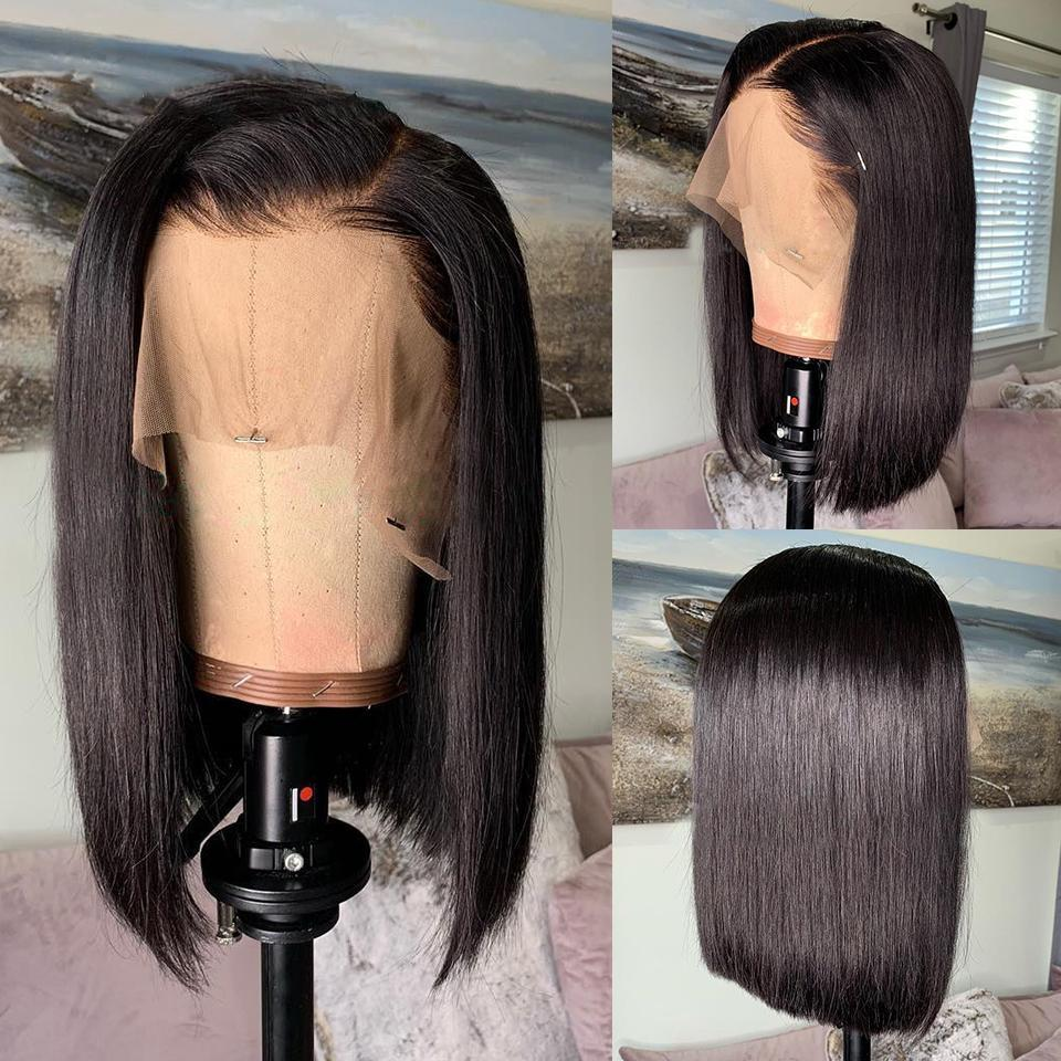 Short Bob Wigs Peruvian 100% Remy Hair Can Be Dyed Lace Front Human Hair Wigs Pre-Plucked Bleached Knots For Woman Slove Rosa