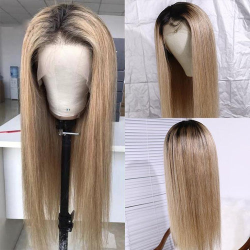 360 Lace Front Human Hair Wig Brown And Blond Highlight Wigs Brazilian Remy 360 Lace Frontal Wig Blonde Highlighted