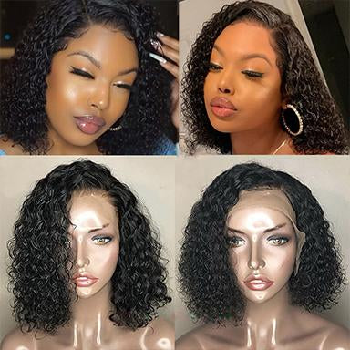 Lace Front Human Hair Wigs For Women Invisible Fake Scalp Wig 13x6 Deep Pixie Cut Short Bob Curly Remy PrePlucked