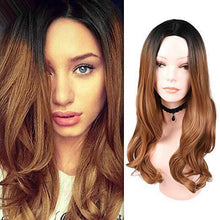 Load image into Gallery viewer, 2019 New release-Mixed Black Ash Light Brown Blonde Synthetic Wig Body Wave Middle Part Heat Resistant Fiber For Black Women Cosplay Long Wigs