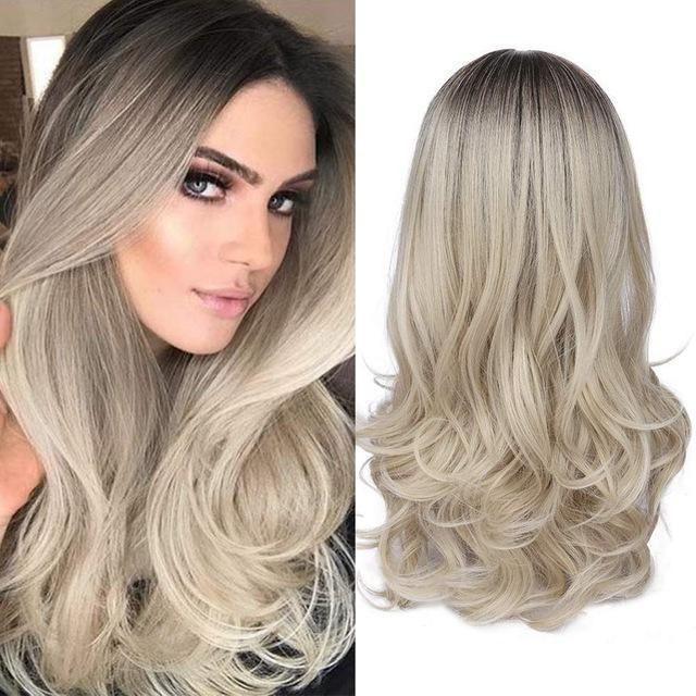 2019 New release-Mixed Black Ash Light Brown Blonde Synthetic Wig Body Wave Middle Part Heat Resistant Fiber For Black Women Cosplay Long Wigs