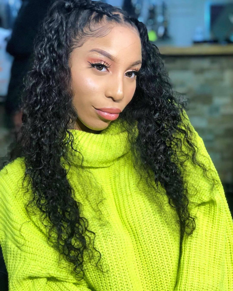 Brazilian Deep Wave Lace Front Human Hair Wigs Lace Front Wigs With Baby Hair Pre Plucked Natural Hairline