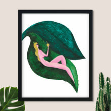 Load image into Gallery viewer, NIPPLE NANCY | Nude Woman Leaf Poster | Woman Poster - Feeb Studio