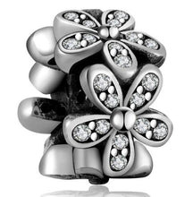 Load image into Gallery viewer, Silver European CZ Charm Beads