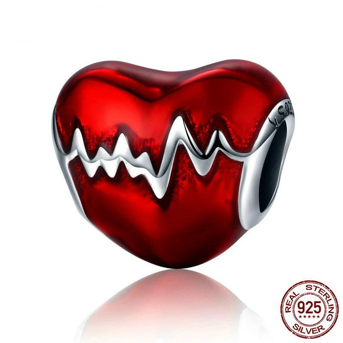 925 Sterling Silver Love Heart ECG & Red Enamel Beads