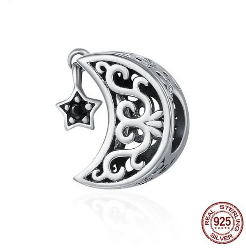 925 Sterling Silver Openwork Moon and Star