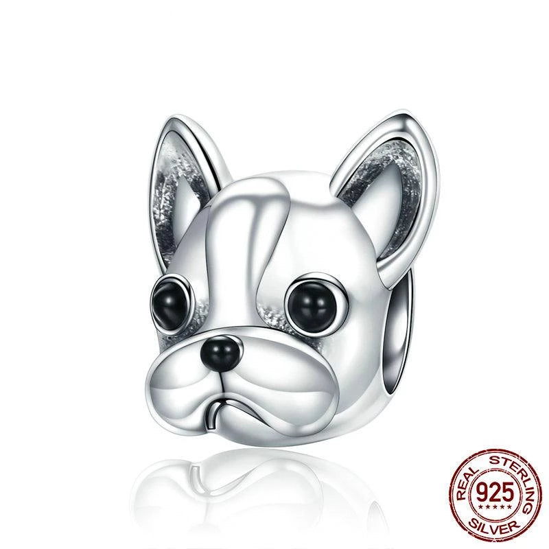 925 Sterling Silver BULLDOG Doggy Animal Beads