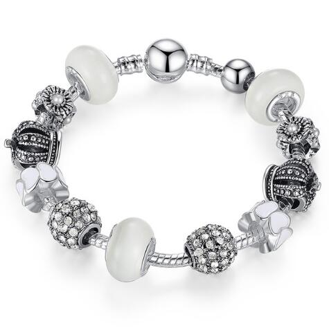 Silver Bracelet & Bangle with Royal Crown Charm and Crystal Ball White Beads