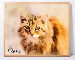 Custom Pet Portrait Art Print - Watercolor - Extended Range
