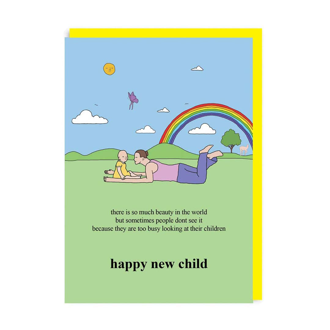 Happy New Child - Rainbow Grass Greeting Card