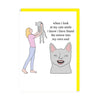 Cat's Smile - Woman and Cat Greeting Card