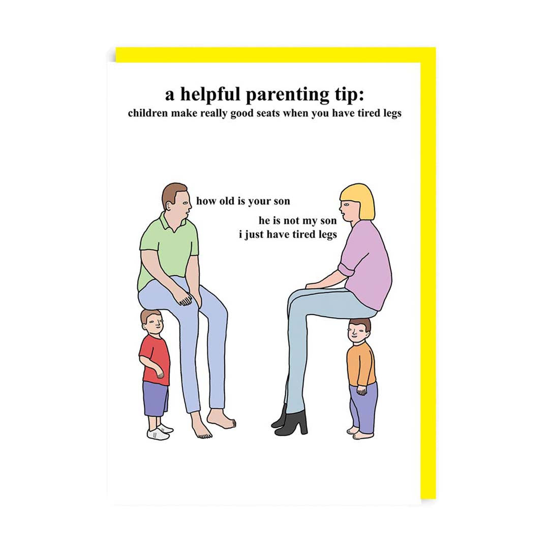 Parenting Tips - Sitting on Children Greeting Card