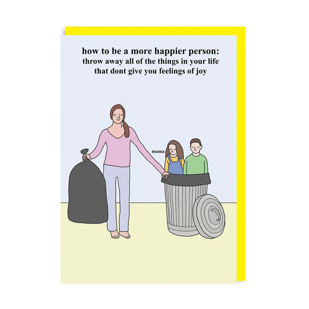 How To Be a Happier Person - Children Bin Greeting Card
